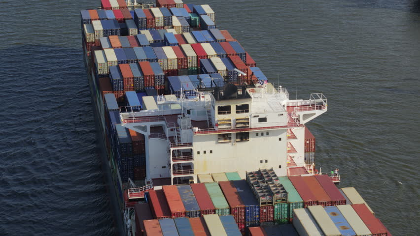 South Carolina Charleston Aerial v101 Panning detail view looking over container ship 10/17 #1010776127