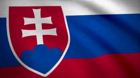 Realistic beautiful Slovakia flag. Seamless Loopable Flag of Slovakia. Slovakia Flag Waving