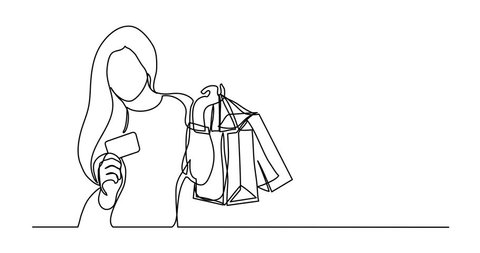 Self drawing animation of shopping woman with bags and credit card - single line drawing