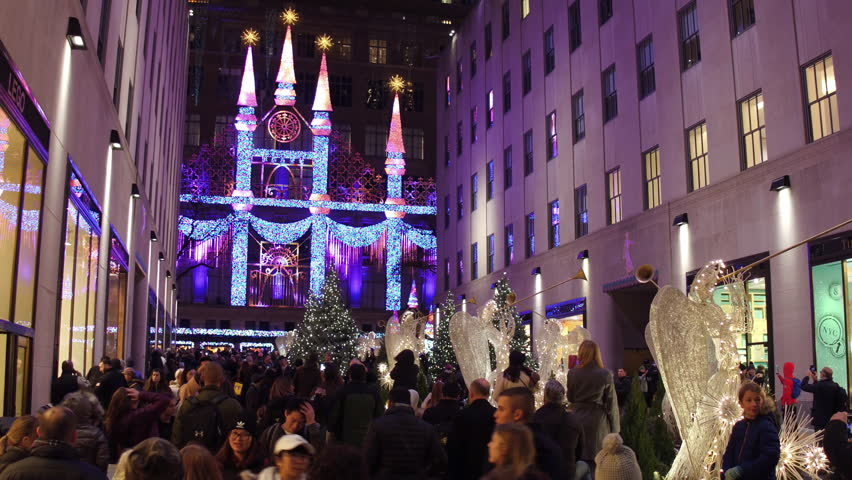 NEW YORK CITY, NEW YORK - November 22: Downtown Rockefeller Center area with Christmas Lights in New York, NY on November 22, 2017.