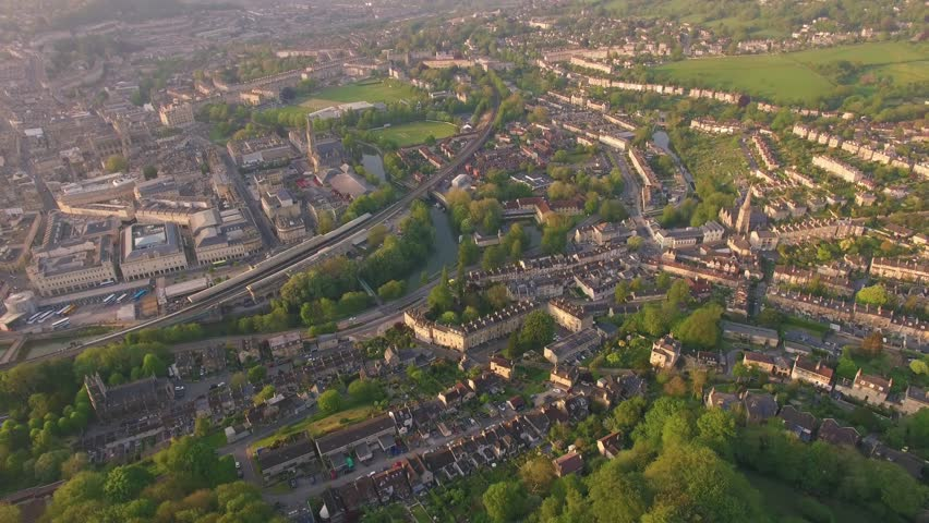 City of Bath (UK) Aerial Drone Footage of Historic Town & Countryside Surroundings at Sunset | Shutterstock HD Video #1010922917