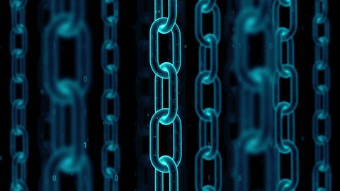 3d render digital technology abstract background. Blockchain concept. Chain with animated binary texture. Depth of field. Loopable rotation of elements.