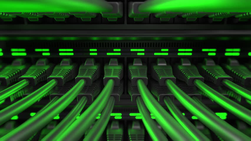 Close-up view of modern internet network switch with plugged ethernet cables. Blinking green lights on internet server.  | Shutterstock HD Video #1010946167