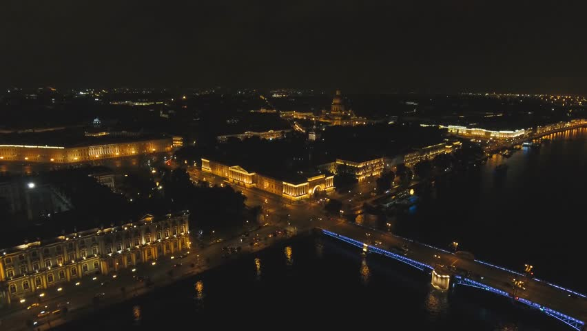 St. Petersburg at night with lights, bridges, buildings. Aerial view panorama of the night city. drone footage, 4k. | Shutterstock HD Video #1010965457