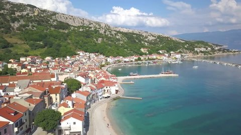 Baska, Krk Island, Croatia-drone view