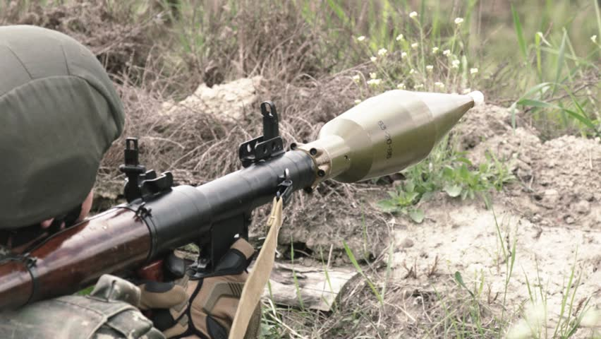 Soldier Shoots With RPG7. Anti Tank Missile Launcher