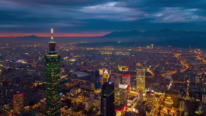 Sunset sky taipei cityscape aerial downtown panorama 4k timelapse taiwan