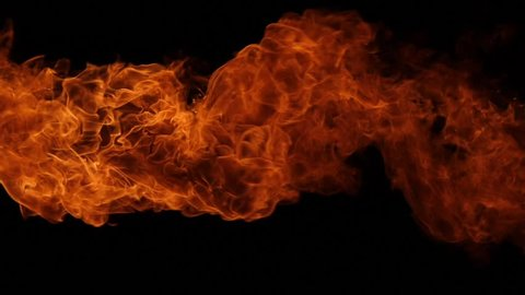 Fire explosion isolated on black background. Slow motion