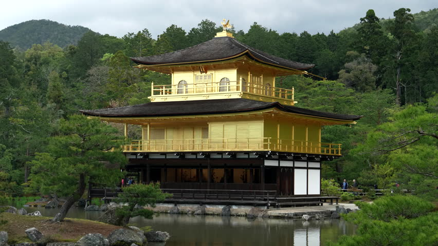 a close view of kinkaku-ji, also known as golden pavilion, in kyoto, japan