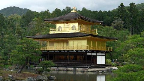 a close view of kinkaku-ji, also known as golden pavilion, in kyoto, japan