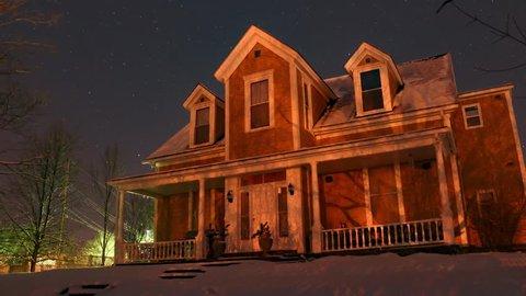 Presbyterian Manse Architectural Style- 19th century- Winter Starlapse
