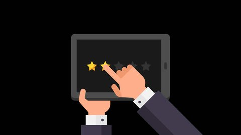 Businessman holds tablet and evaluates rating from one to five stars. Alpha channel. Motion Graphics.