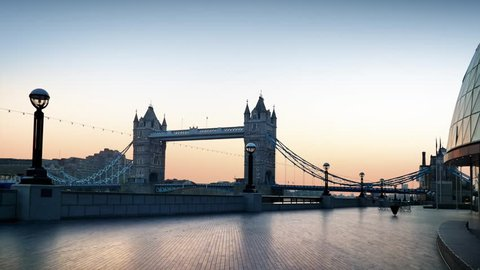 London, Tower Bridge parallax shift early morning just before sunrise.