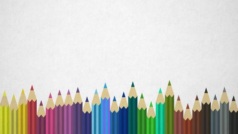 Background With Colored Pencils On Paper Background. Seamless Loop. Great For Your Back To School / Art Supplies Related Projects. High-Quality Animation. 4K 60fps