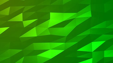 Loopable Abstract Green Low Poly 3D surface as CG background. Soft Polygonal Geometric Low Poly motion background of shifting Green polygons. 4K Fullhd seamless loop background render V81