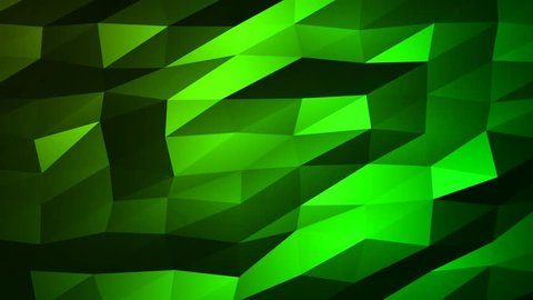 Loopable Abstract Green Low Poly 3D surface as CG background. Soft Polygonal Geometric Low Poly motion background of shifting Green polygons. 4K Fullhd seamless loop background render V67