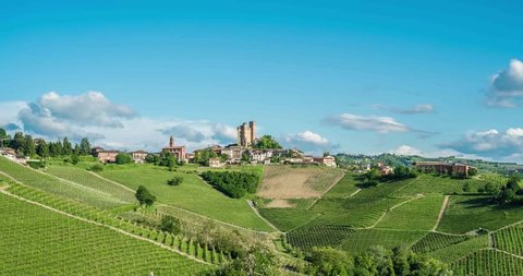 Serralunga d'Alba surrounded with vineyard hills. Langhe area, Piedmont region, Italy.