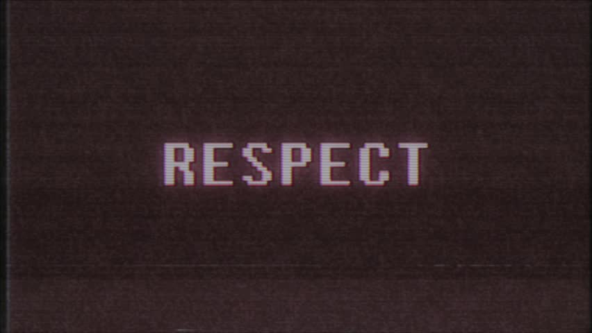 Retro videogame RESPECT word text computer tv glitch interference noise screen animation seamless loop New quality universal vintage motion dynamic animated background colorful joyful video m | Shutterstock HD Video #1011083987