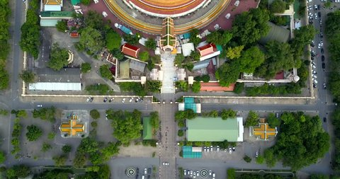 4K. Flying over Phra Pathom Chedi, the great golden pagoda and world's tallest stupa in Nakhon Pathom, Southeast Asia, Thailand