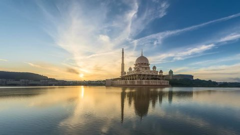 Sunrise Time Lapse at Putra Mosque by a lake in Putrajaya, Malaysia.