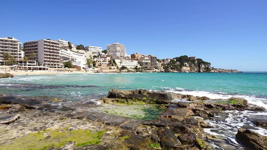 Spain Majorca, urban seaside of beach Cala Major at Bendinat, Mediterranean Sea coast, Balearic Islands