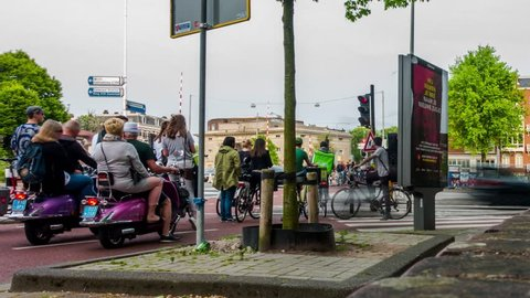 Amsterdam, the Netherlands bicycles and billboard timelapse. Shot with the Sony RX100 M3