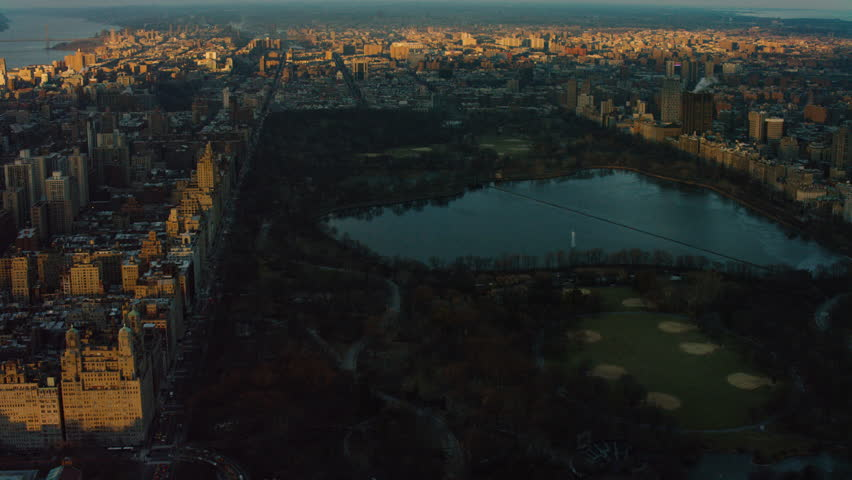 Aerial Shot of Central Park at Sunset, New York City. Shot with a RED camera.