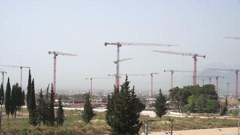 Large construction cranes