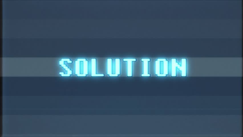 Retro videogame SOLUTION word text computer tv glitch interference noise screen animation seamless loop New quality universal vintage motion dynamic animated background colorful joyful video m | Shutterstock HD Video #1011191087