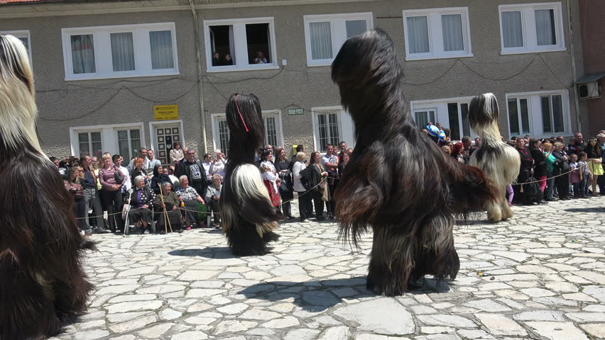 Bansko, Bulgaria - 07 MAY, 2016: Participants are participating in the Eastern International Festival of dolls. The festival promotes variations of ancient Bulgarian masks and folklor