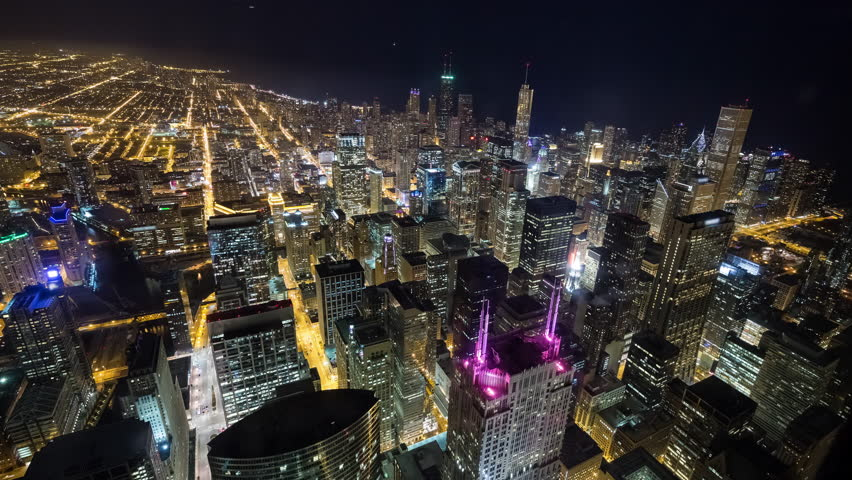 Looking Down on Downtown Chicago at Night