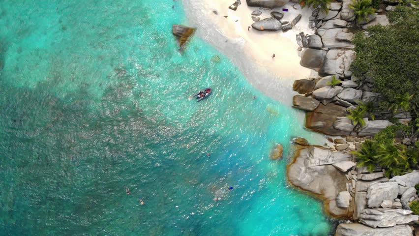 Seychelles tropical island luxury vacation, drone view at tropical island Coco island Seychelles