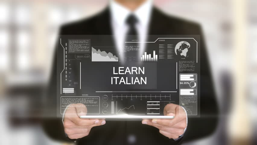 Learn Italian, Businessman with Hologram concept | Shutterstock HD Video #1011267497