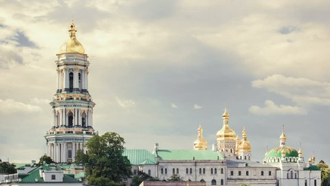 Kiev. Ukraine. Kiev Pechersk Lavra or the Kiev Monastery of the Caves. Timelapse.