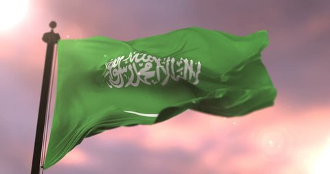 Flag of Saudi Arabia waving at wind in slow at sunset, loop