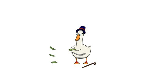 Classic Animation of cartoon character. Alpha-channel. The duck with tall hat throws money.