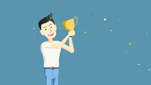 Cartoon Character Man wins a Cup