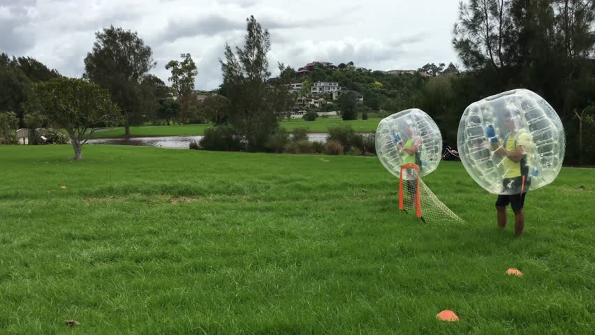 AUCKLAND - MAR 10 2018:Bubble soccer football inflatable human zorb ball bumper game.In May 2018, the first ever World Cup will take place in London UK.