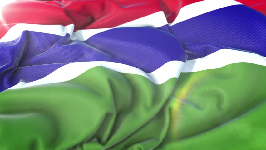 Gambia flag.Flag of Gambia Beautiful 3d animation of Gambia flag in loop mode.Gambia flag animation