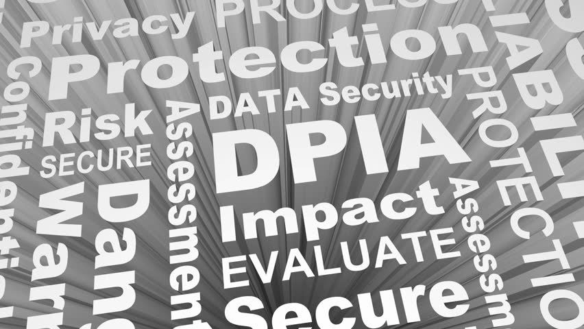 DPIA Data Protection Privacy Impact Assessment Words 3d Render Animation