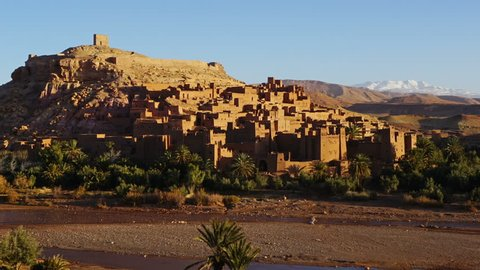 Kasbah Ait Ben Haddou in the Atlas Mountains, Morocco, zoom out timelapse