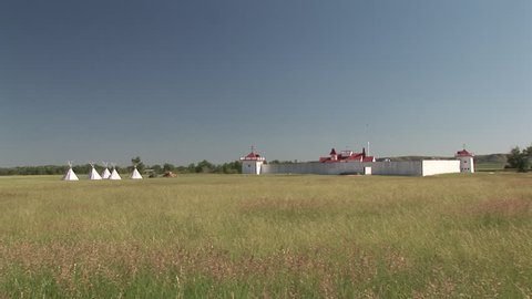 Historical in Summer Teepees, Fort Historic Structure Fur Trading in North Dakota