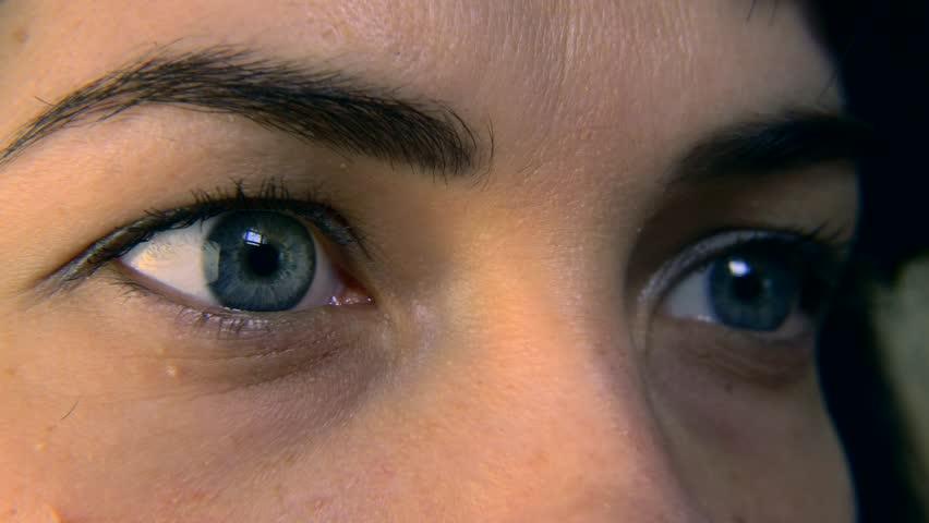 Close-up. Macro Blue Female Human Eye. Pupil Cornea Iris Eyeball Eyelashes. Blink Open Closed. 30p Slow motion 1/2 Real Time Speed 60p | Shutterstock HD Video #1011459737