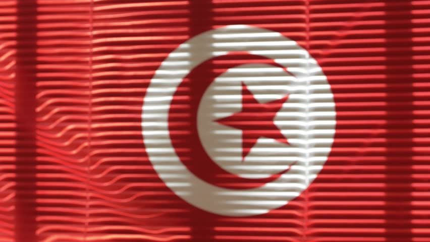 Tunisian flag hanging at wide jalousie window. Closeup  #1011468857
