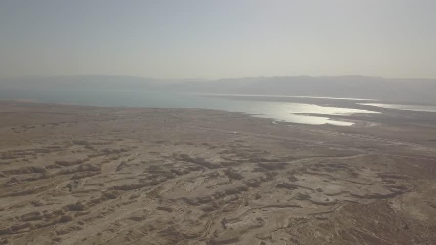 Dead sea desert 4k aerial view ungraded flat | Shutterstock HD Video #1011483137