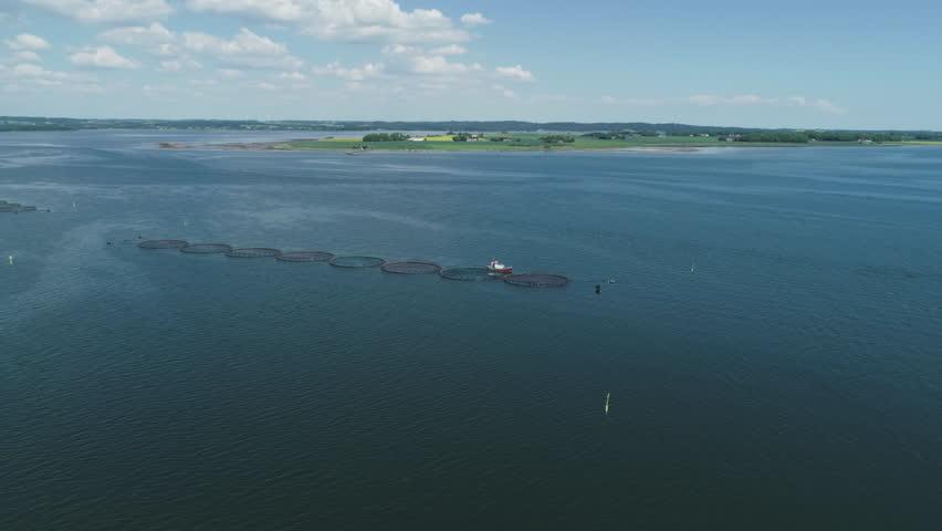 Drone over fish farm in Jutland, Denmark | Shutterstock HD Video #1011502337