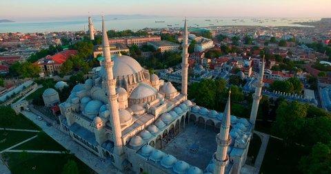 Mystique Suleymaniye Mosque from sky, aerial view of Istanbul, Golden Horn, Turkey. Suleymaniye Camii