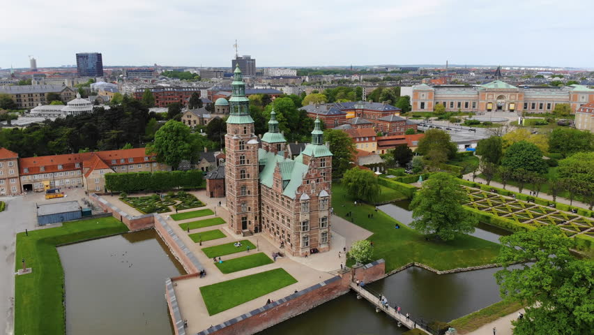 Aerial view of Rosenborg Castle (renaissance style palace) situated in The King's Garden (Kongens Have) - central Copenhagen, capital city of Denmark from above | Shutterstock HD Video #1011516227