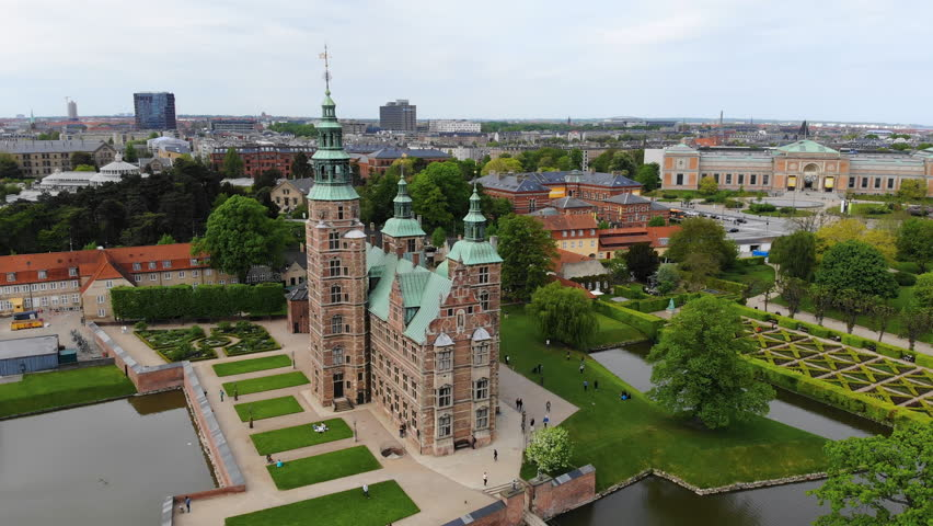 Aerial view of Rosenborg Castle (renaissance style palace) situated in The King's Garden (Kongens Have) - central Copenhagen, capital city of Denmark from above, Europe | Shutterstock HD Video #1011516437