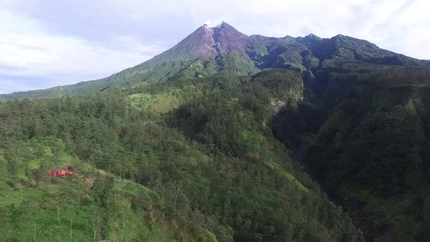 Aerial view of Merapi Mountain in the morning